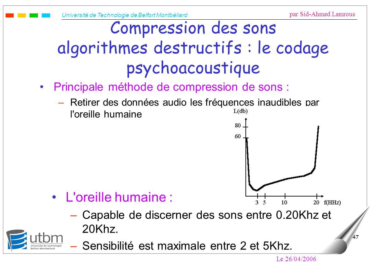 Compression des sons algorithmes destructifs : le codage psychoacoustique