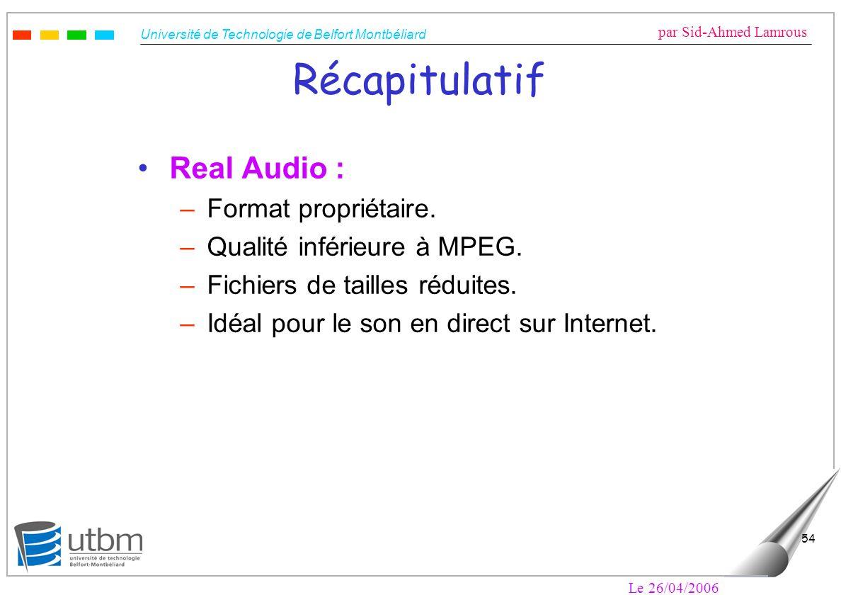 Récapitulatif Real Audio : Format propriétaire.