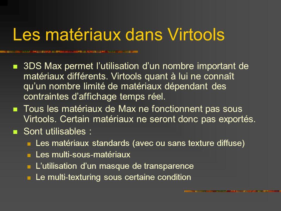 Les matériaux dans Virtools