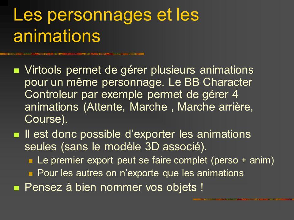 Les personnages et les animations