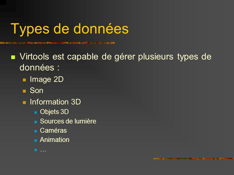 Types de donnéesVirtools est capable de gérer plusieurs types de données : Image 2D. Son. Information 3D.