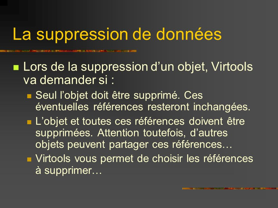 La suppression de données