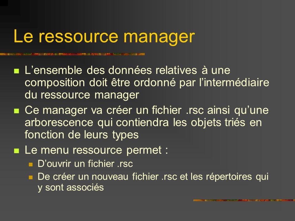 Le ressource managerL'ensemble des données relatives à une composition doit être ordonné par l'intermédiaire du ressource manager.