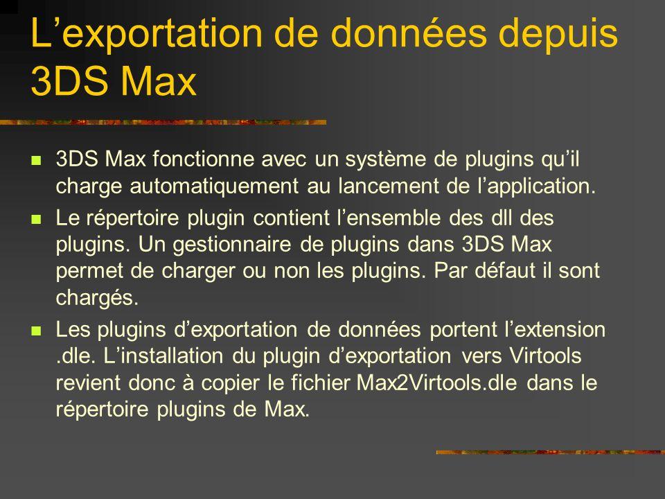 L'exportation de données depuis 3DS Max