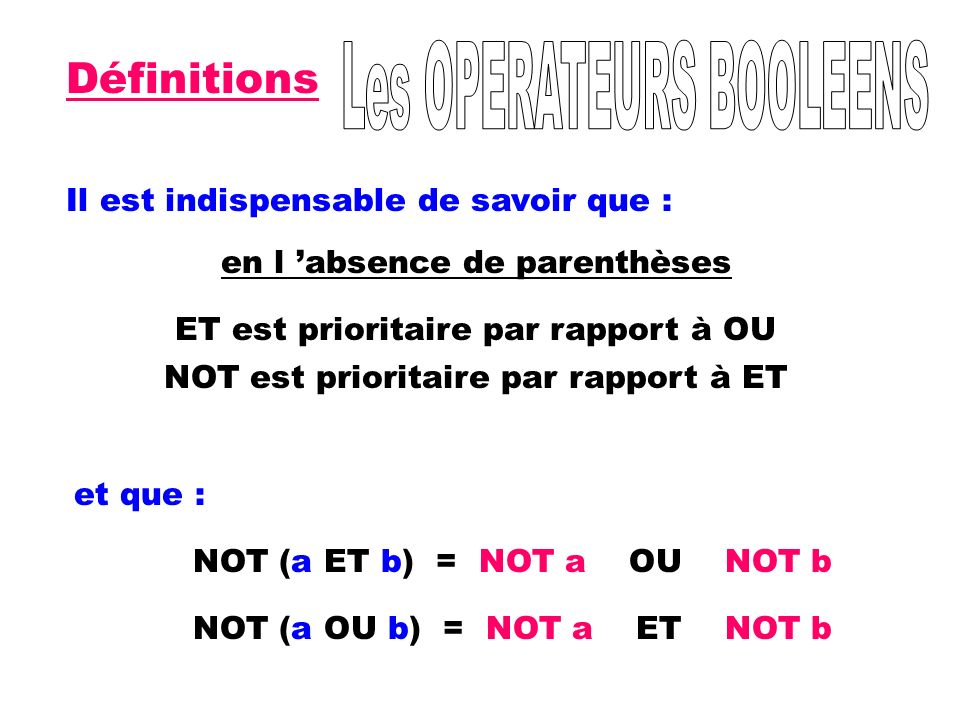 Définitions Les OPERATEURS BOOLEENS