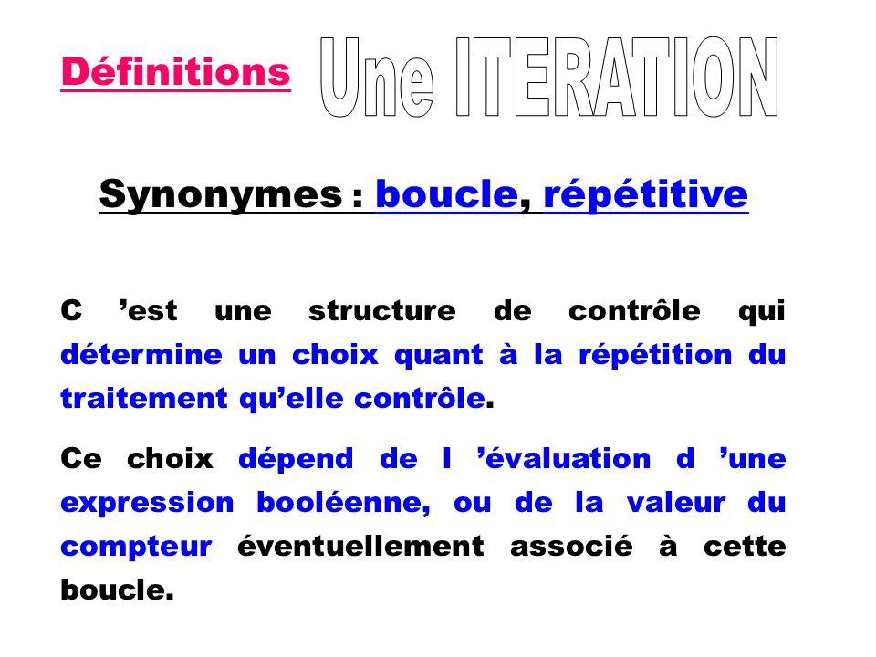 Synonymes : boucle, répétitive