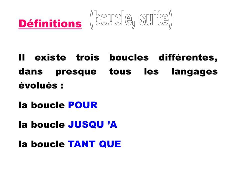(boucle, suite)Définitions. Il existe trois boucles différentes, dans presque tous les langages évolués :