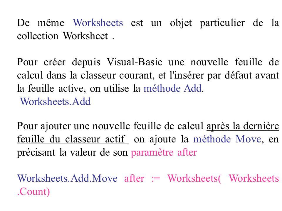 De même Worksheets est un objet particulier de la collection Worksheet .