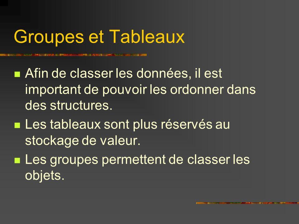 Groupes et Tableaux Afin de classer les données, il est important de pouvoir les ordonner dans des structures.