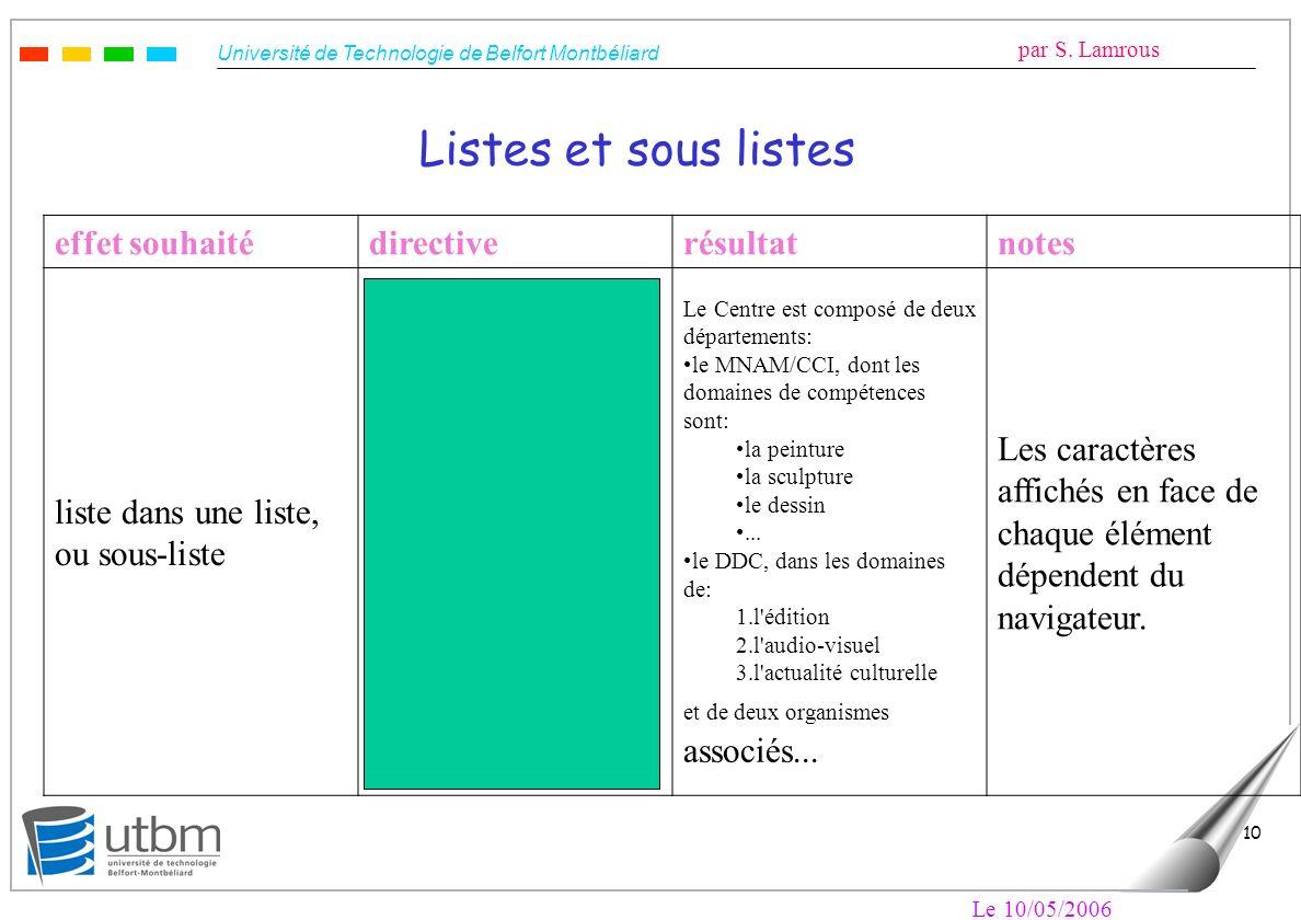 Listes et sous listes effet souhaité directive résultat notes