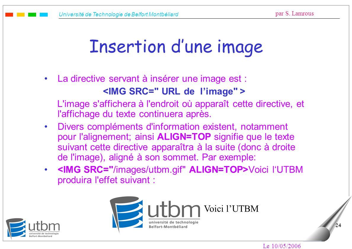 <IMG SRC= URL de l'image >