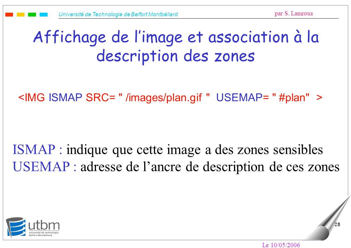Affichage de l'image et association à la description des zones