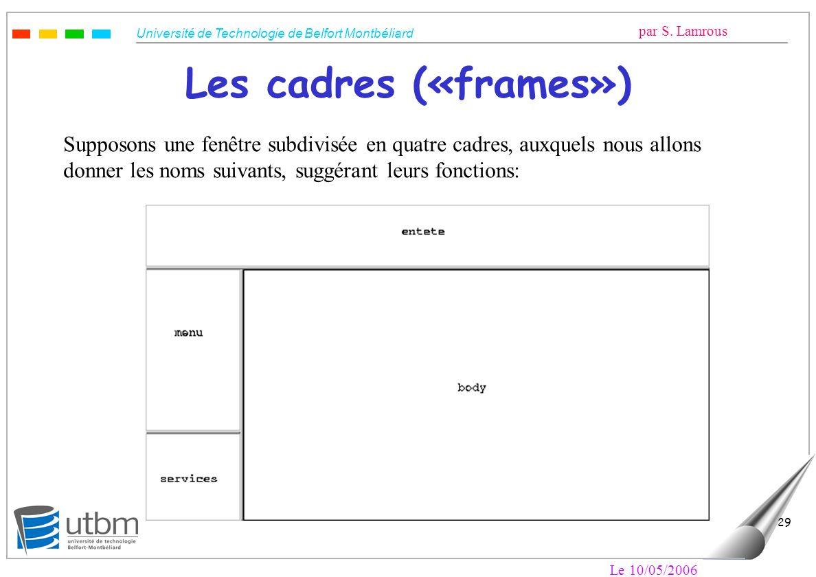 Les cadres («frames») Supposons une fenêtre subdivisée en quatre cadres, auxquels nous allons. donner les noms suivants, suggérant leurs fonctions: