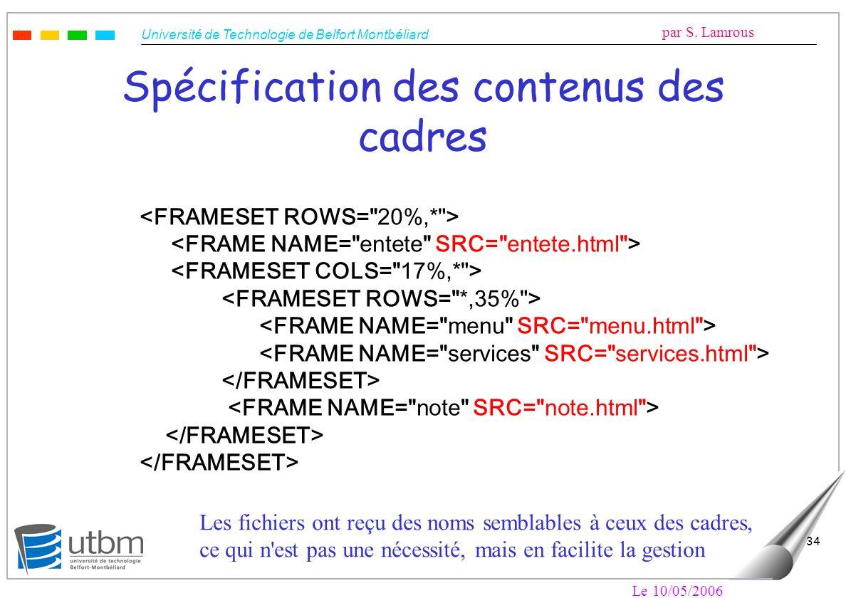 Spécification des contenus des cadres