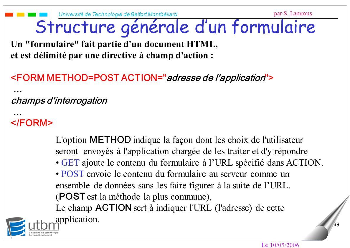 Structure générale d'un formulaire