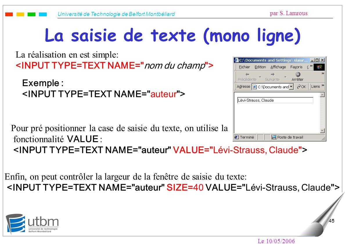 La saisie de texte (mono ligne)