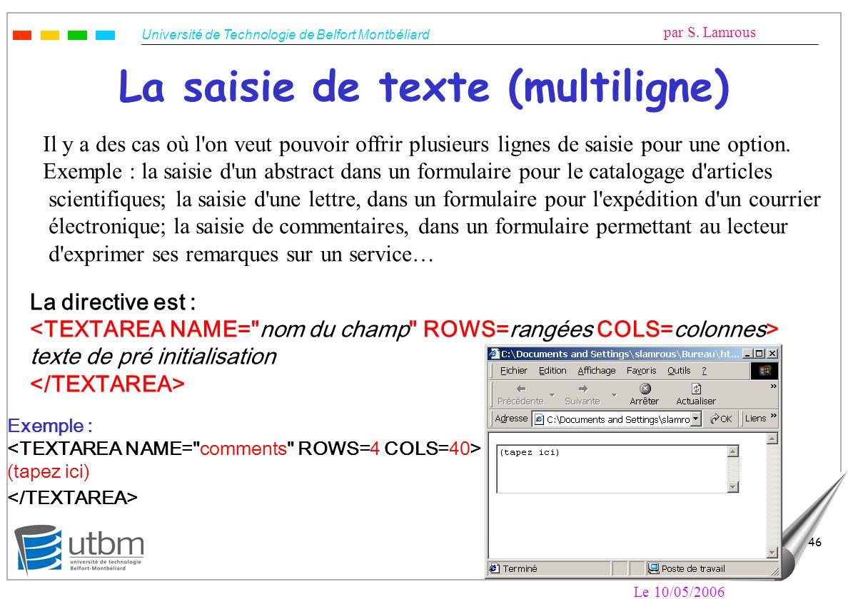 La saisie de texte (multiligne)