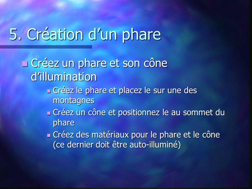 5. Création d'un phare Créez un phare et son cône d'illumination