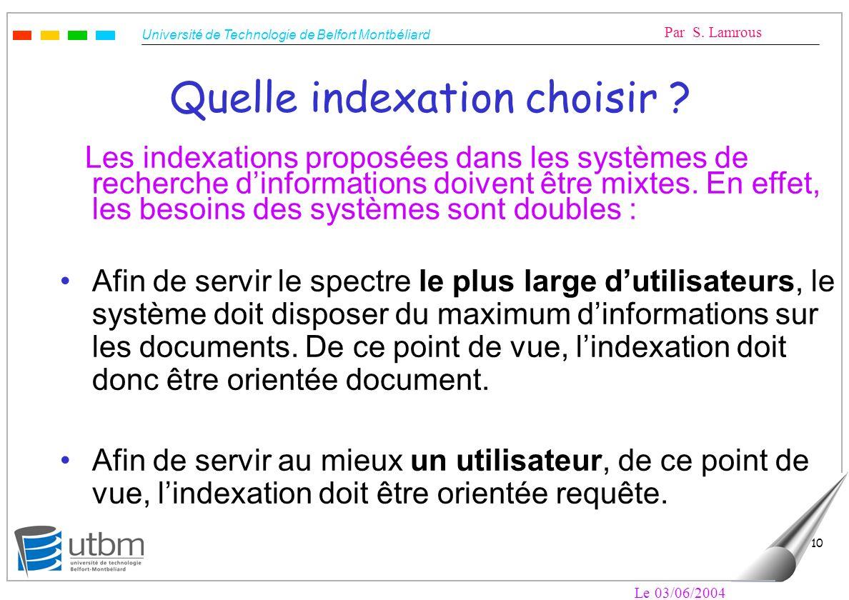Quelle indexation choisir