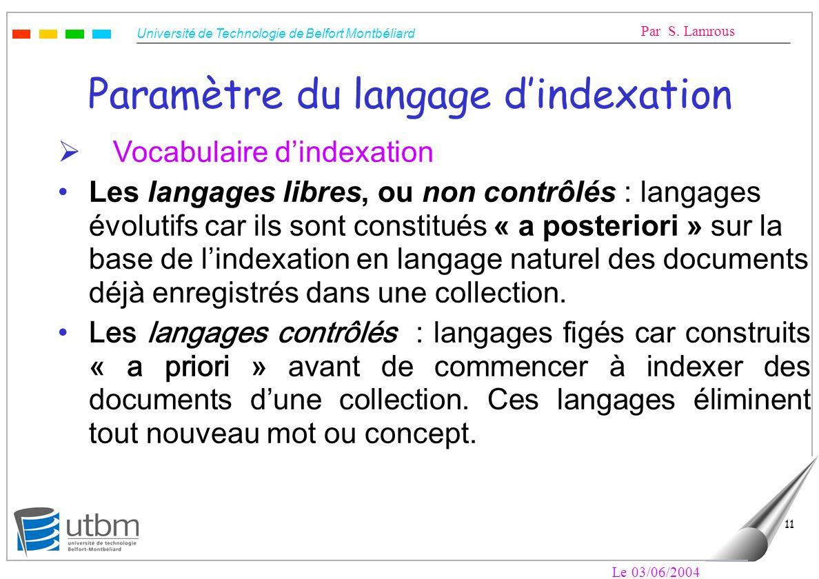 Paramètre du langage d'indexation