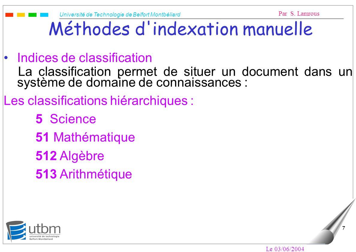 Méthodes d indexation manuelle