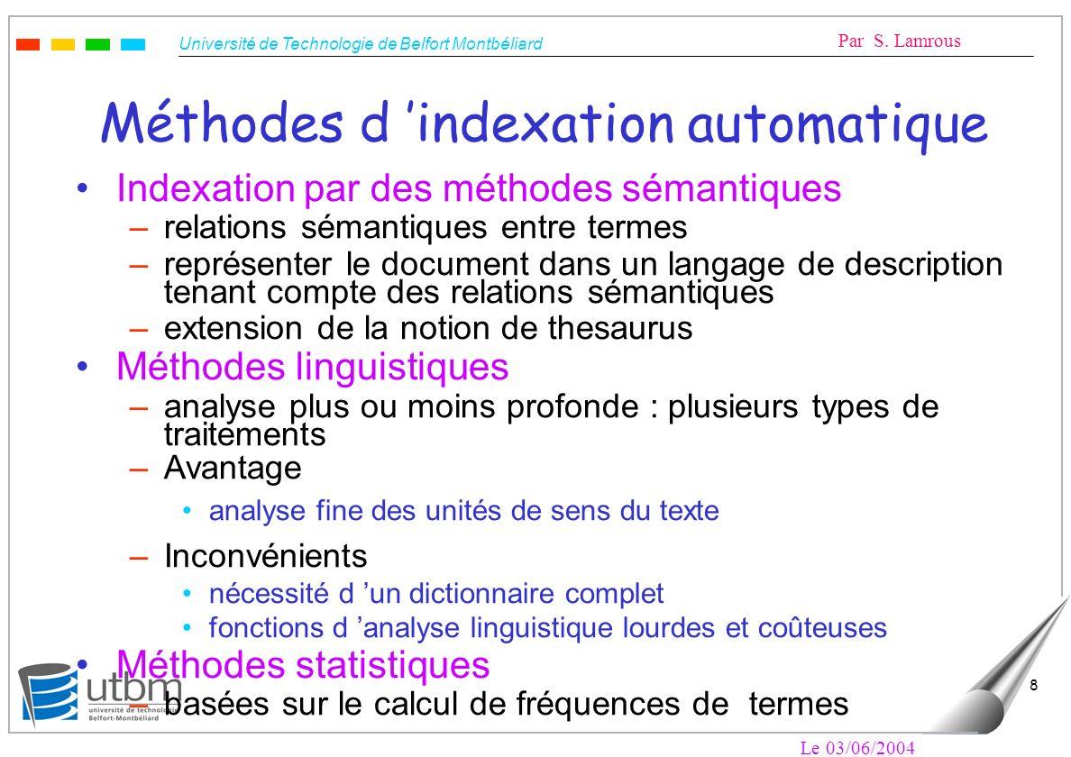 Méthodes d 'indexation automatique
