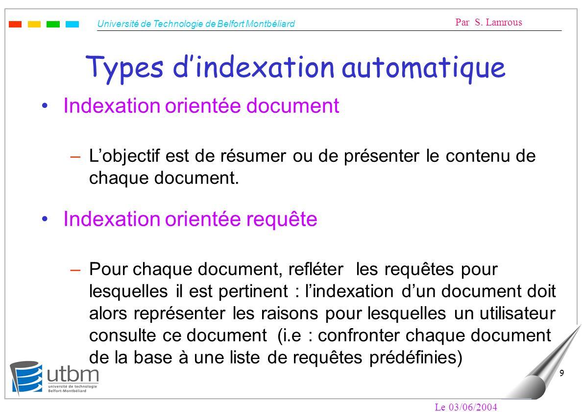 Types d'indexation automatique