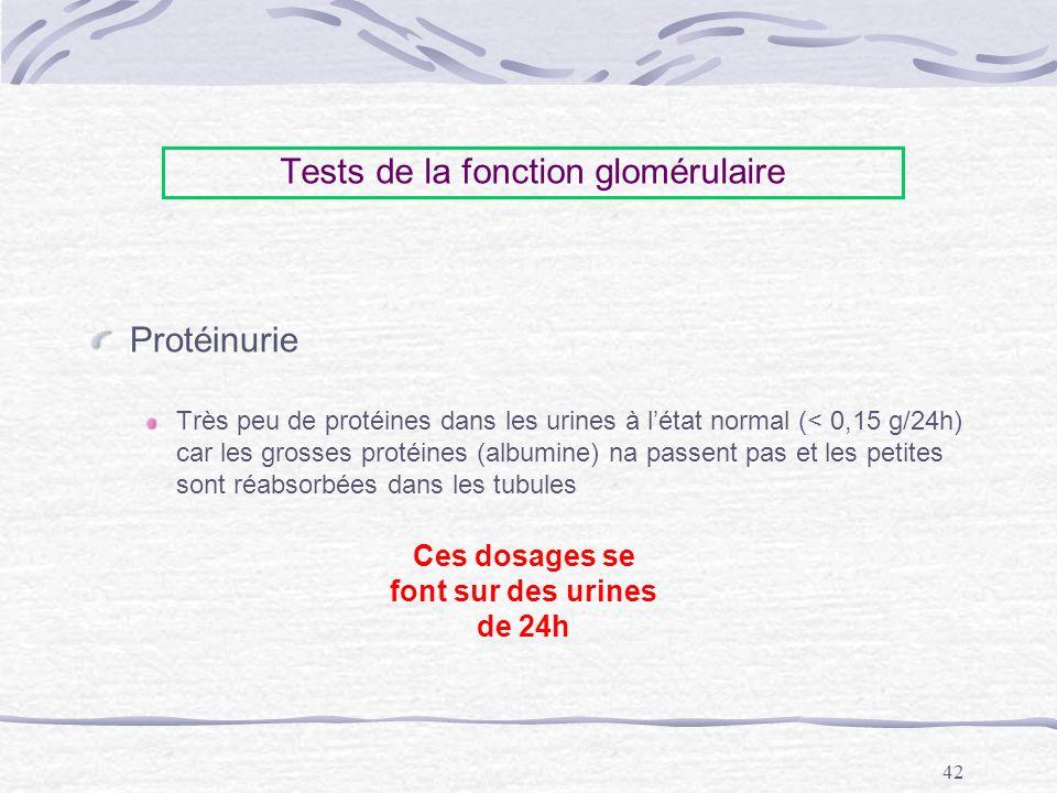 Tests de la fonction glomérulaire