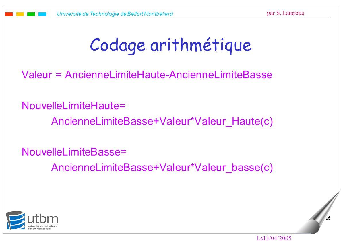 Codage arithmétique Valeur = AncienneLimiteHaute-AncienneLimiteBasse