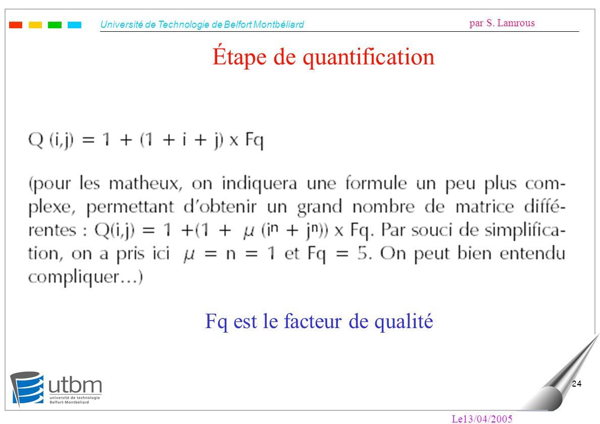 Étape de quantification