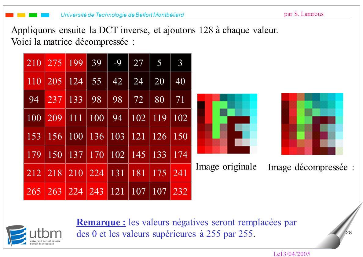 Appliquons ensuite la DCT inverse, et ajoutons 128 à chaque valeur.