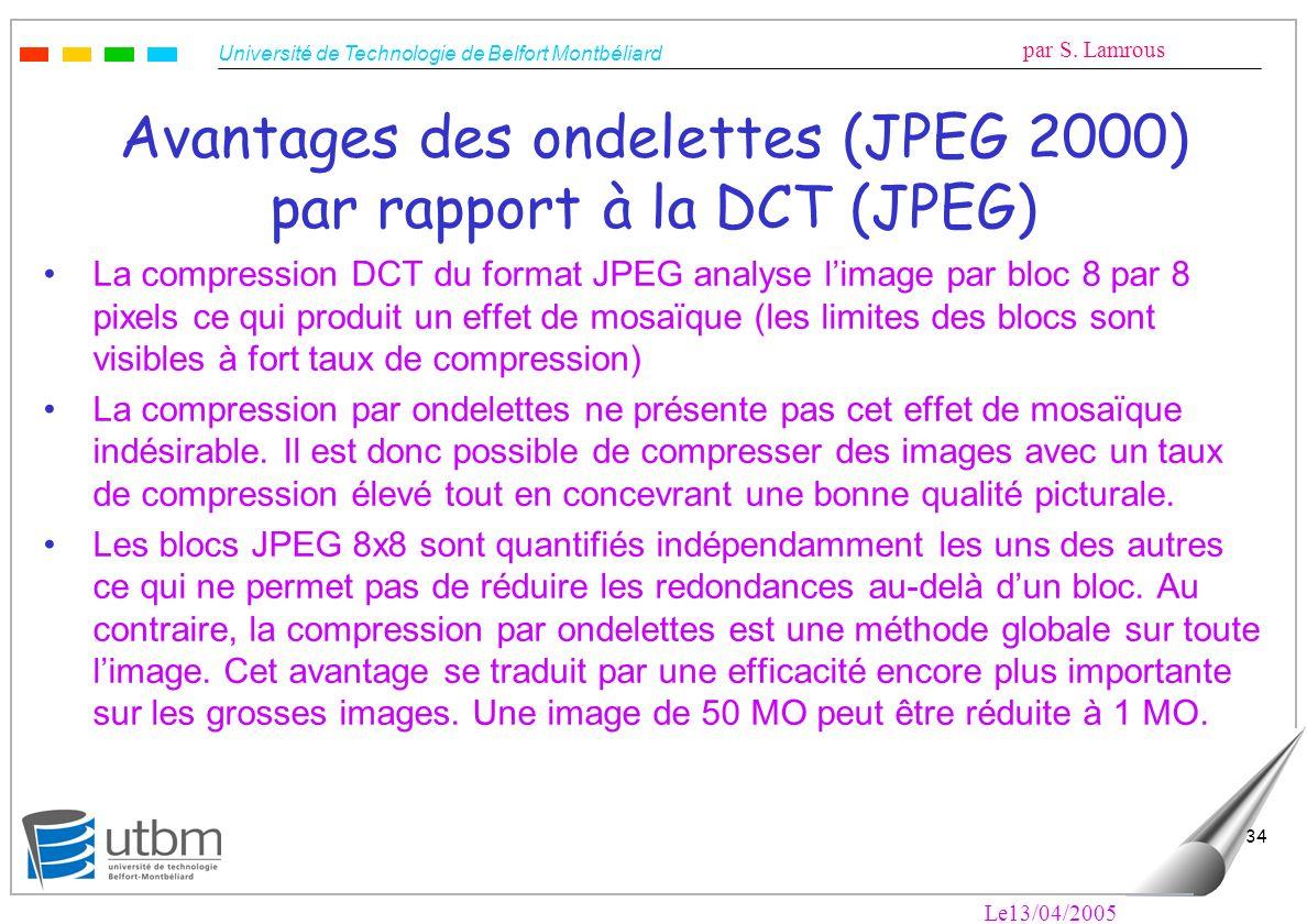 Avantages des ondelettes (JPEG 2000) par rapport à la DCT (JPEG)