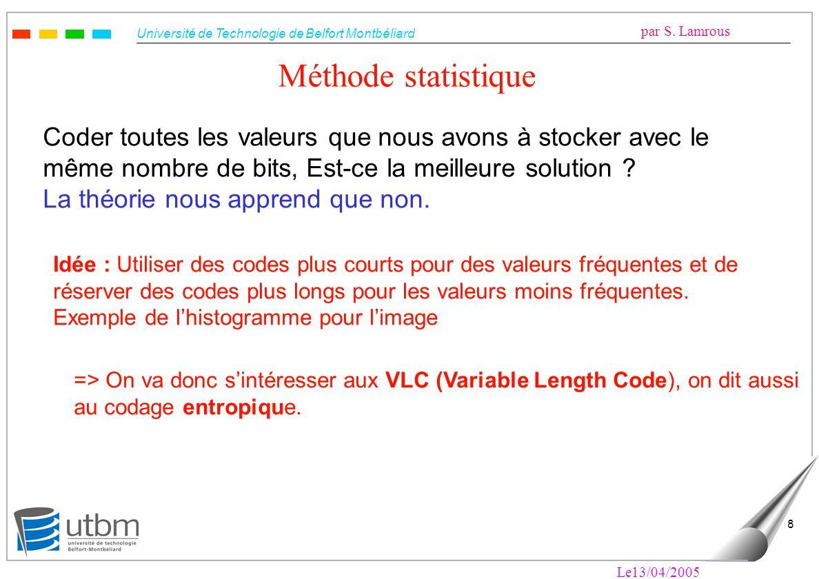 Méthode statistique Coder toutes les valeurs que nous avons à stocker avec le même nombre de bits, Est-ce la meilleure solution