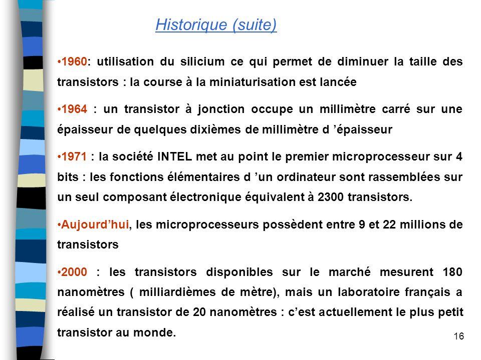 Historique (suite)1960: utilisation du silicium ce qui permet de diminuer la taille des transistors : la course à la miniaturisation est lancée.
