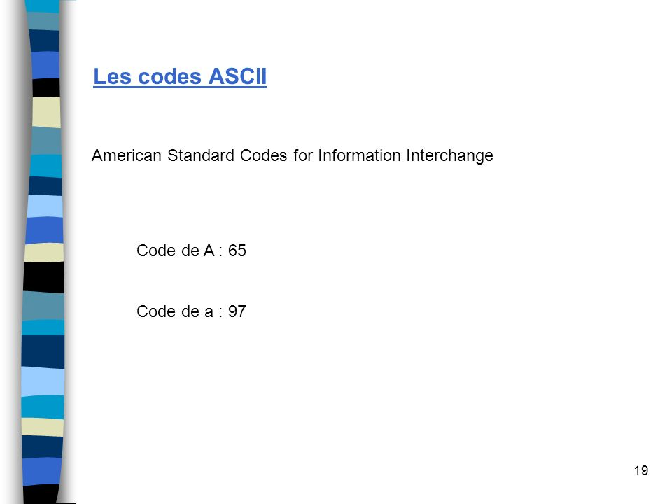 Les codes ASCII American Standard Codes for Information Interchange