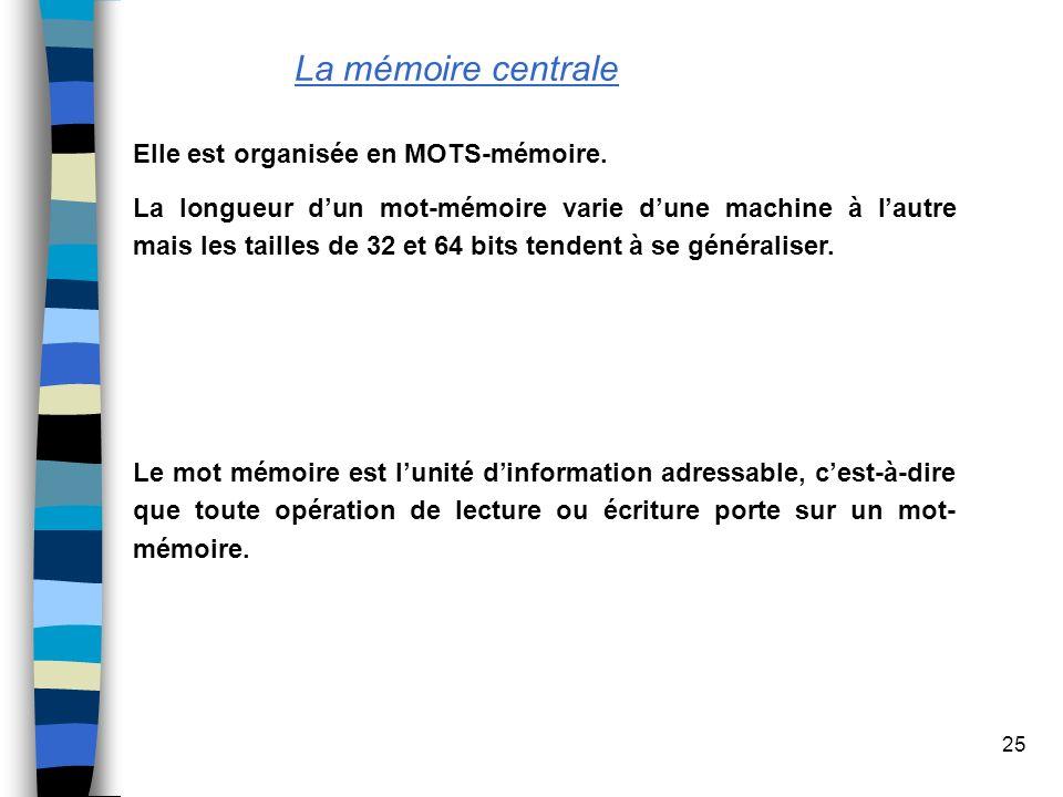 La mémoire centrale Elle est organisée en MOTS-mémoire.