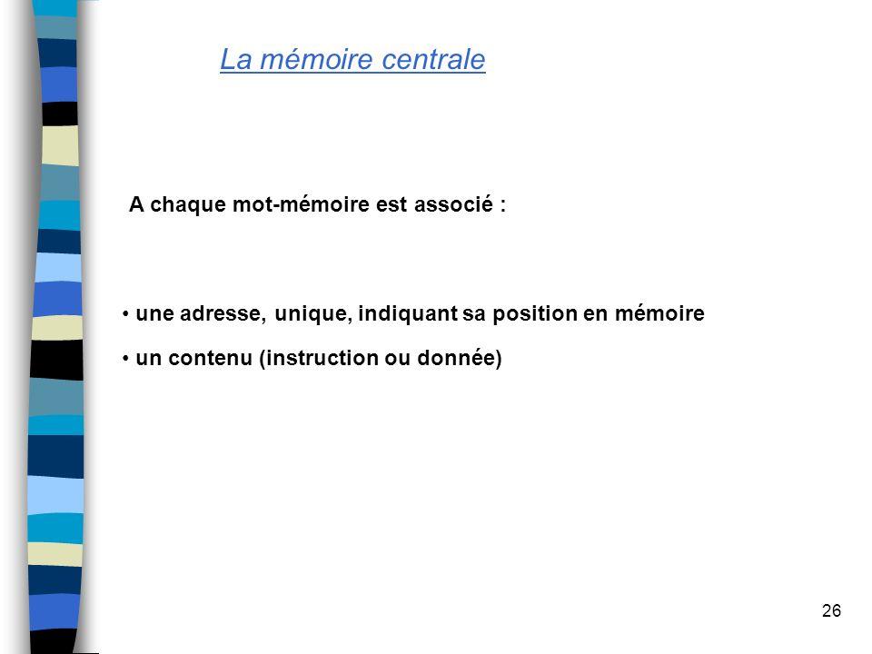La mémoire centrale A chaque mot-mémoire est associé :