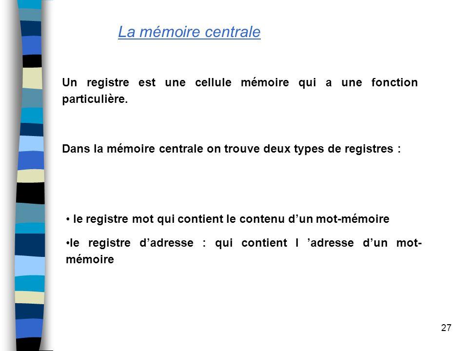 La mémoire centraleUn registre est une cellule mémoire qui a une fonction particulière. Dans la mémoire centrale on trouve deux types de registres :