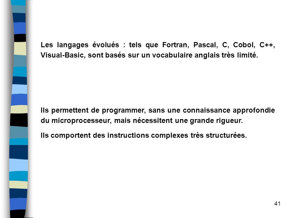 Les langages évolués : tels que Fortran, Pascal, C, Cobol, C++, Visual-Basic, sont basés sur un vocabulaire anglais très limité.