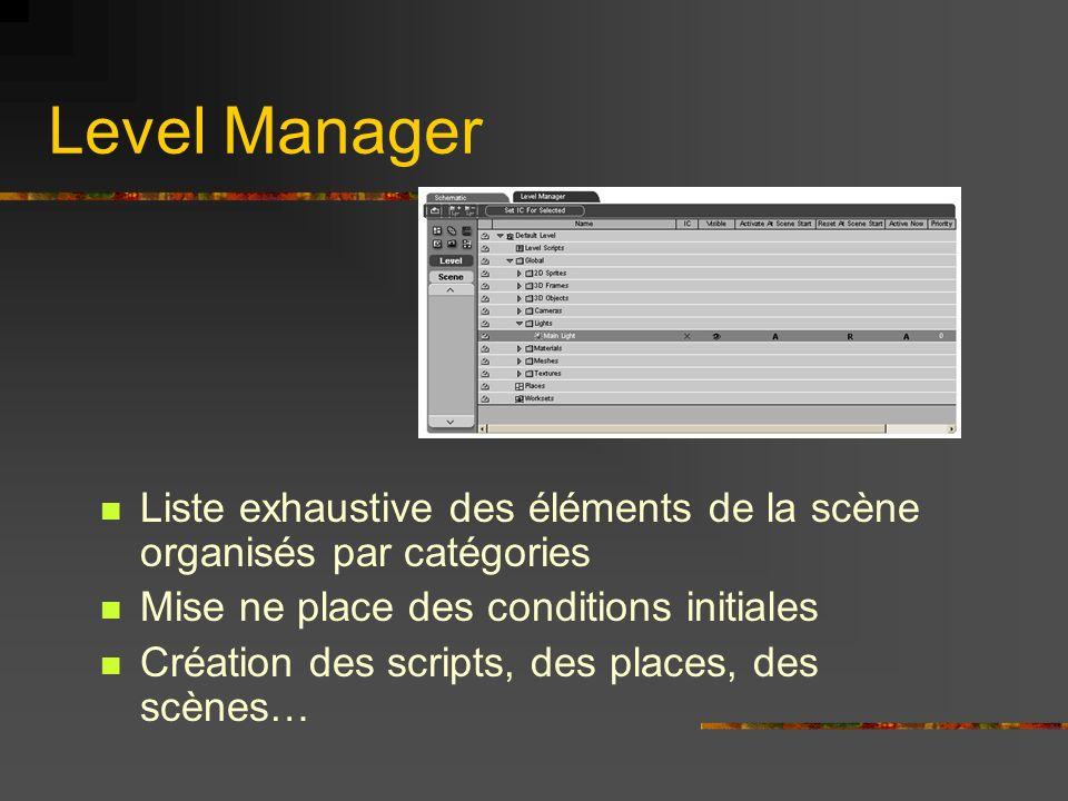 Level Manager Liste exhaustive des éléments de la scène organisés par catégories. Mise ne place des conditions initiales.