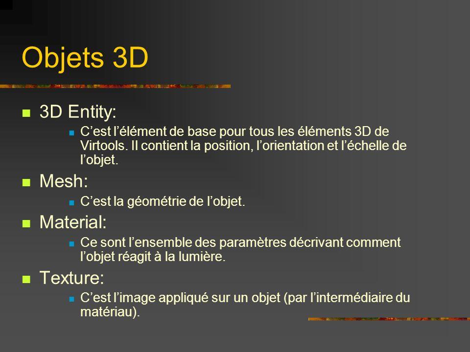 Objets 3D 3D Entity: Mesh: Material: Texture: