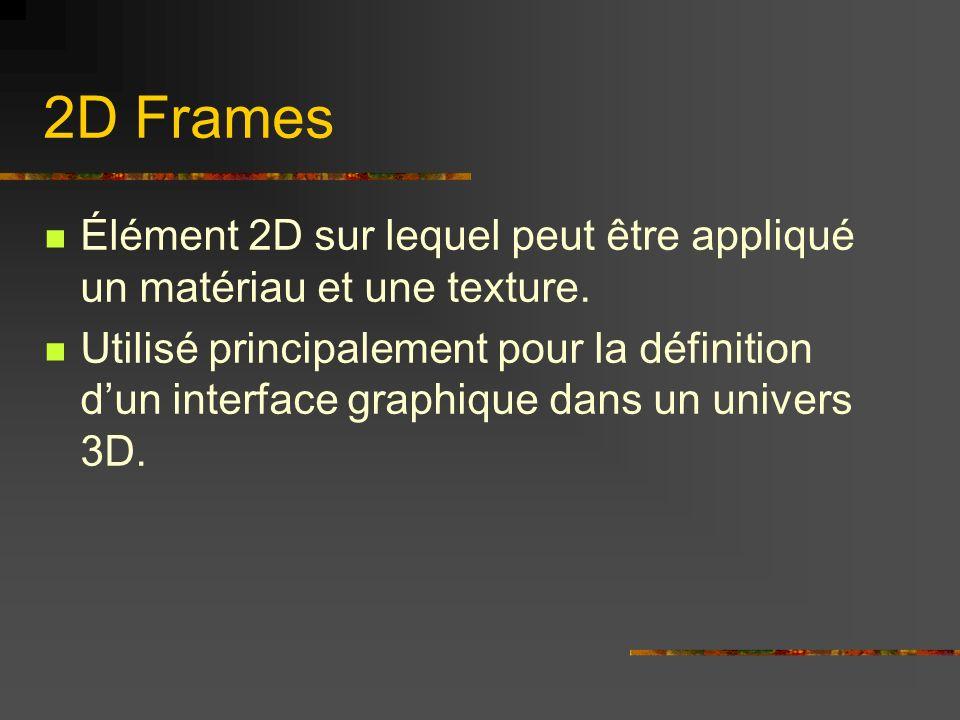2D FramesÉlément 2D sur lequel peut être appliqué un matériau et une texture.