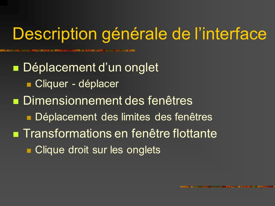 Description générale de l'interface