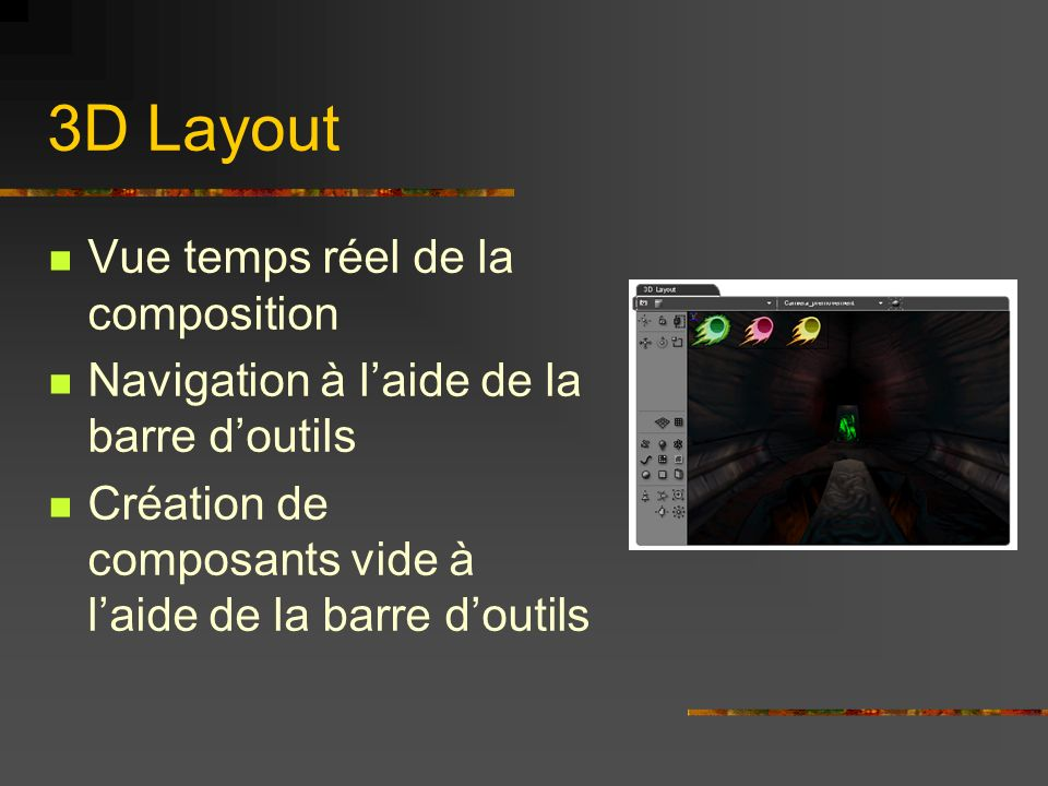 3D Layout Vue temps réel de la composition