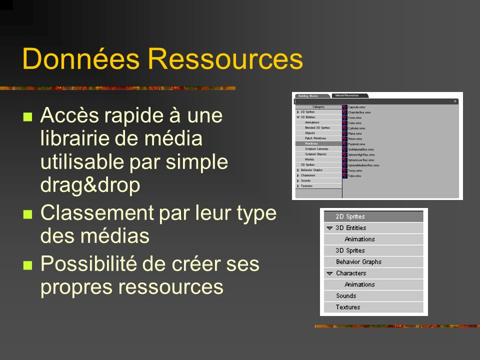 Données RessourcesAccès rapide à une librairie de média utilisable par simple drag&drop. Classement par leur type des médias.