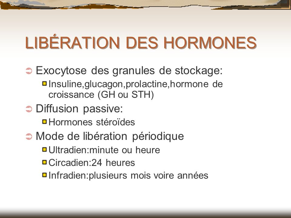 LIBÉRATION DES HORMONES