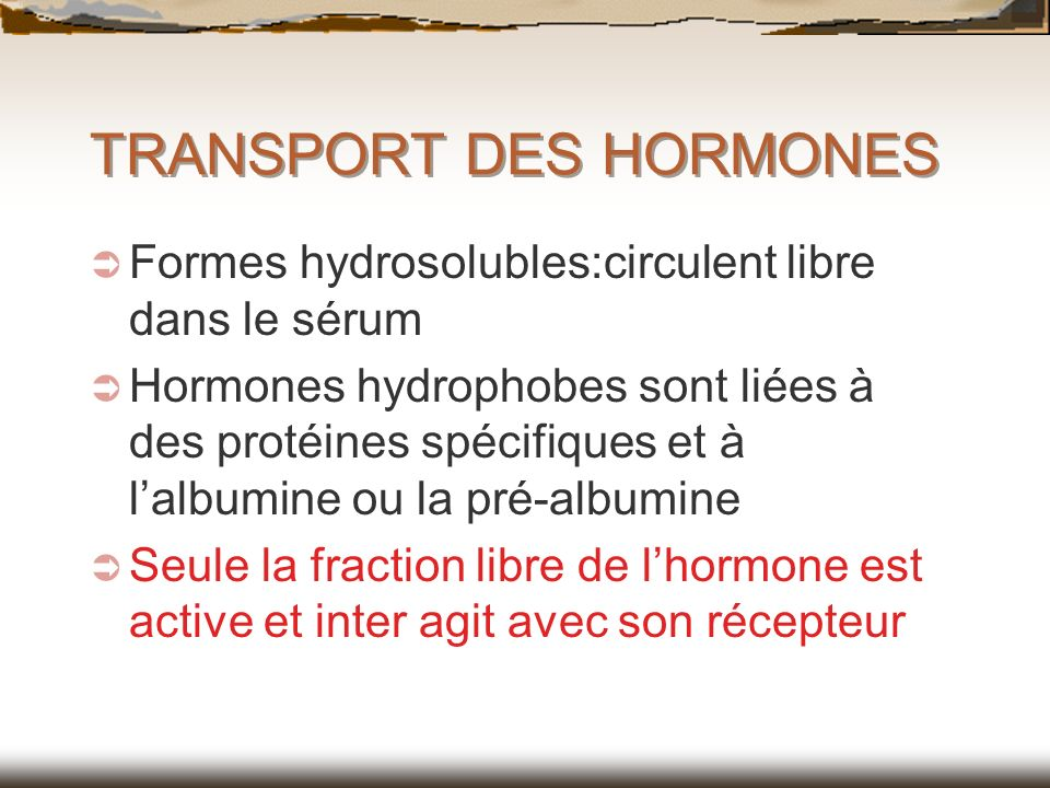 TRANSPORT DES HORMONES