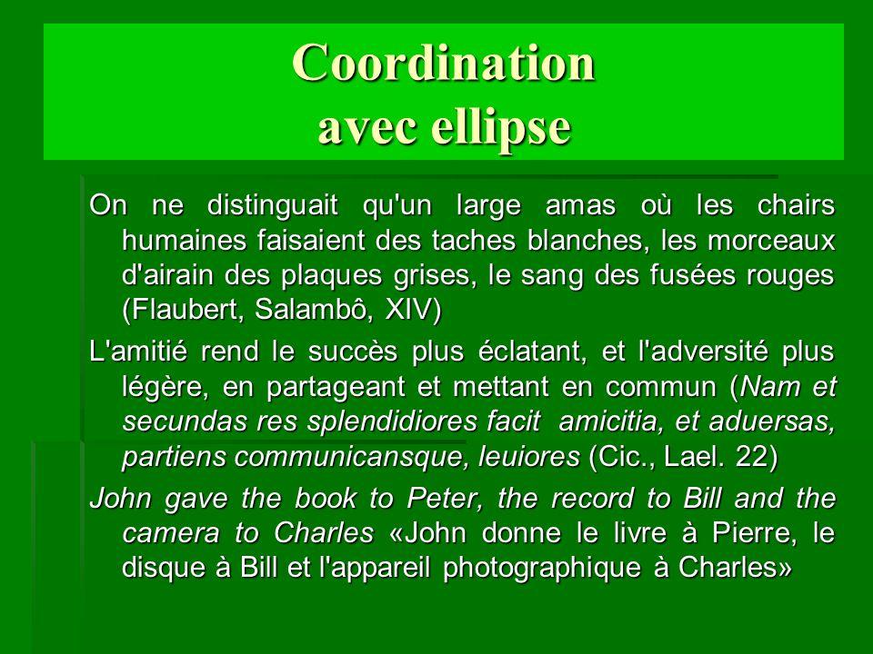 Coordination avec ellipse