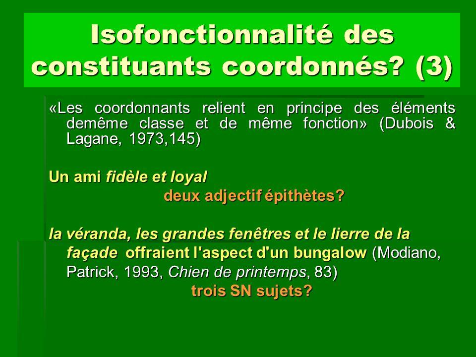 Isofonctionnalité des constituants coordonnés (3)