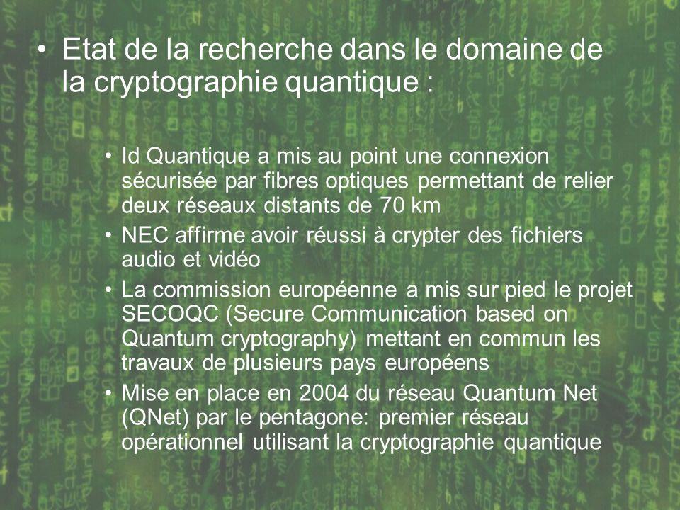 Etat de la recherche dans le domaine de la cryptographie quantique :